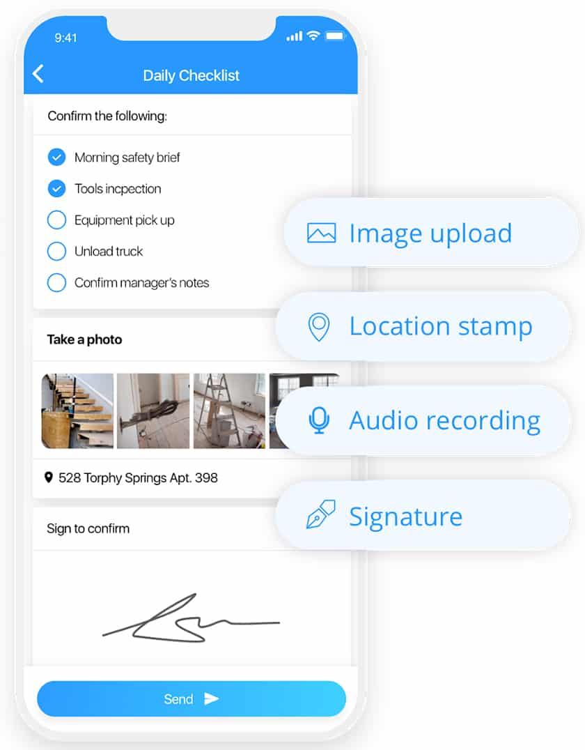 Screenshot of Connecteam daily checklist dashboard