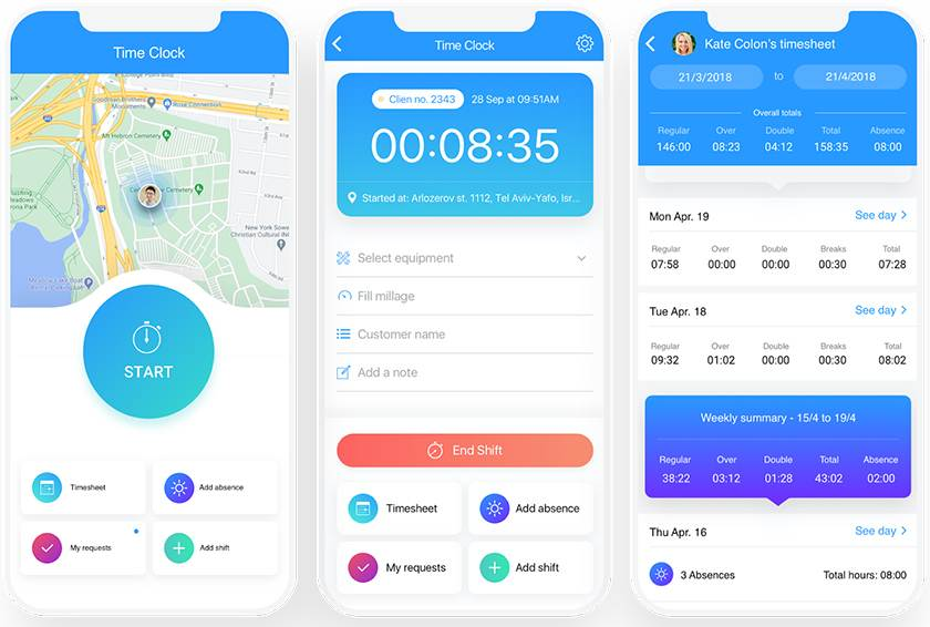 Screenshot of Connecteam_mobile_time clock with geolocation