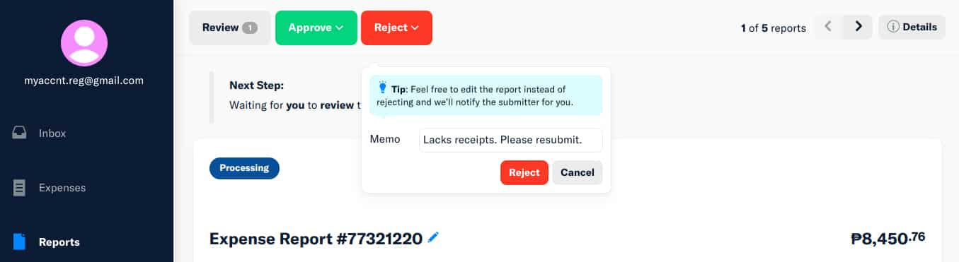 Screenshot of Expensify Rejecting Expenses