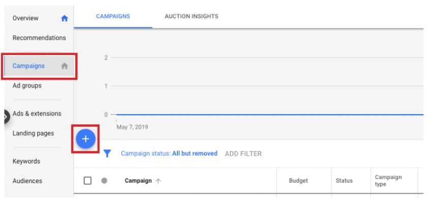 Google Ads Manager Adding New Campaign