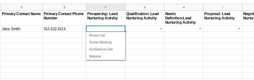 Google Sheets Lead nurturing dropdown menu