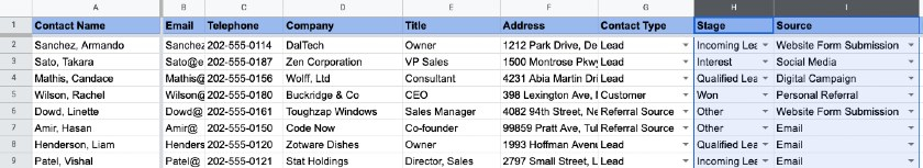 Google Sheets to track and organize leads