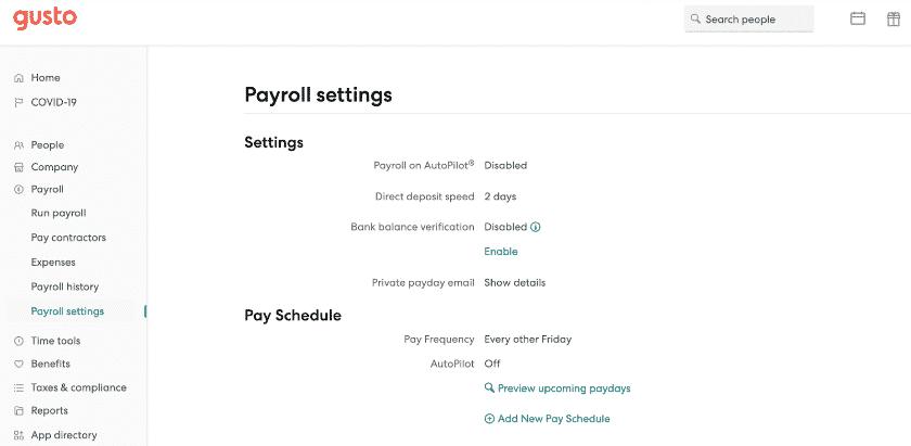 Gusto Payroll Settings
