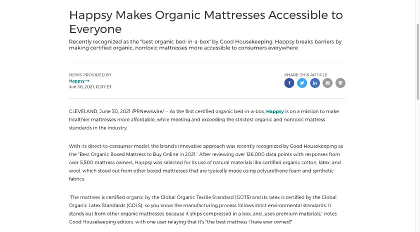 Happsy Press Release example