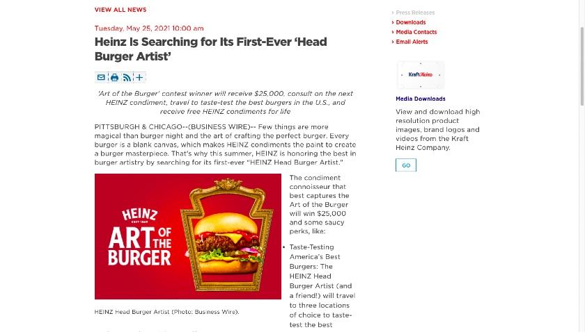 Heinz Head Burger Artist Event Press Release
