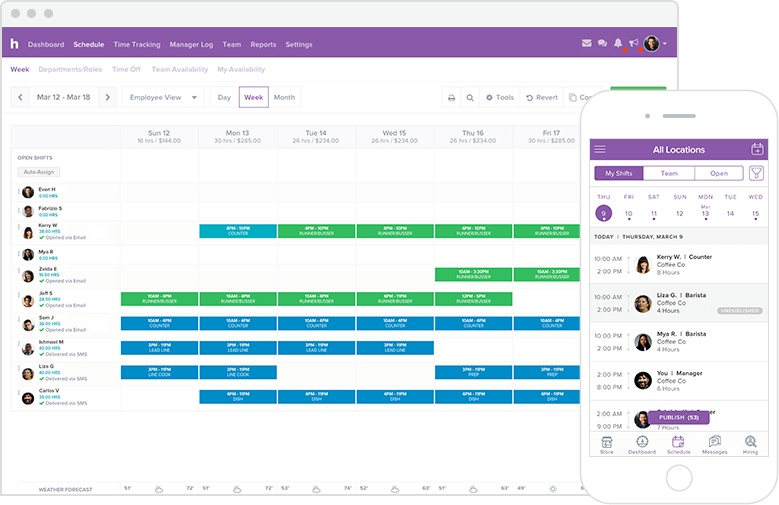 Homebase Scheduling interface