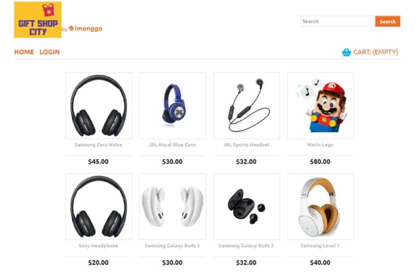 Screenshot of Imonggo online store sample