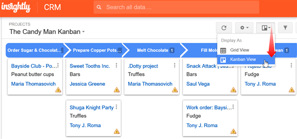 Insightly Kanban View