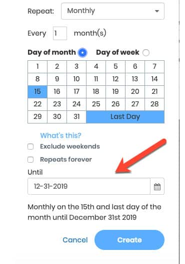 Screenshot of JetPack WorkFlow_Repeat Scheduling Example