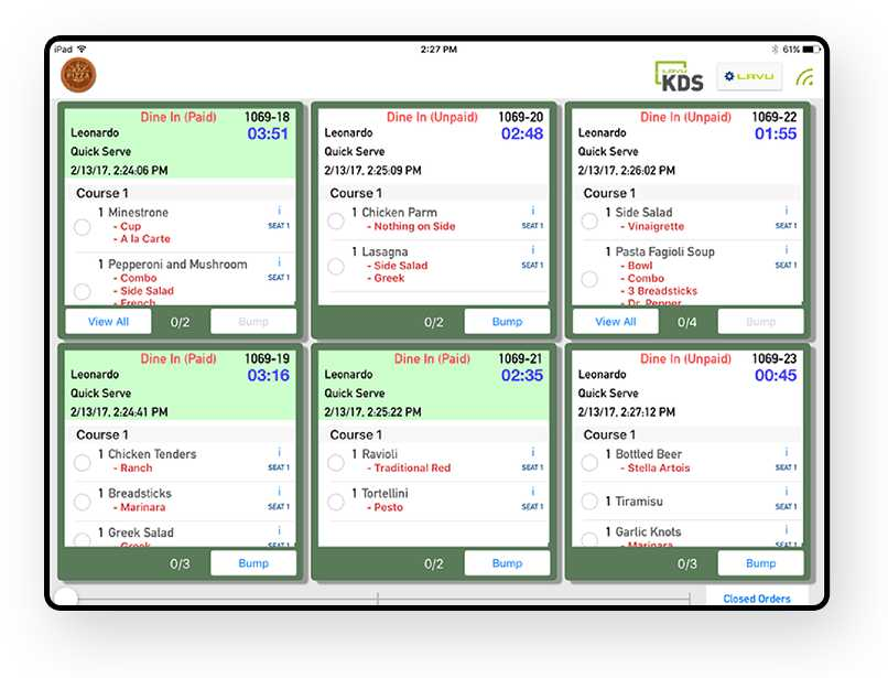Screenshot of Lavu KDS dashboard