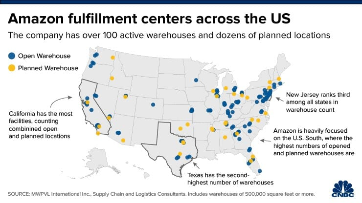 A map of Amazon's existing and planned fulfillment centers in the U.S.