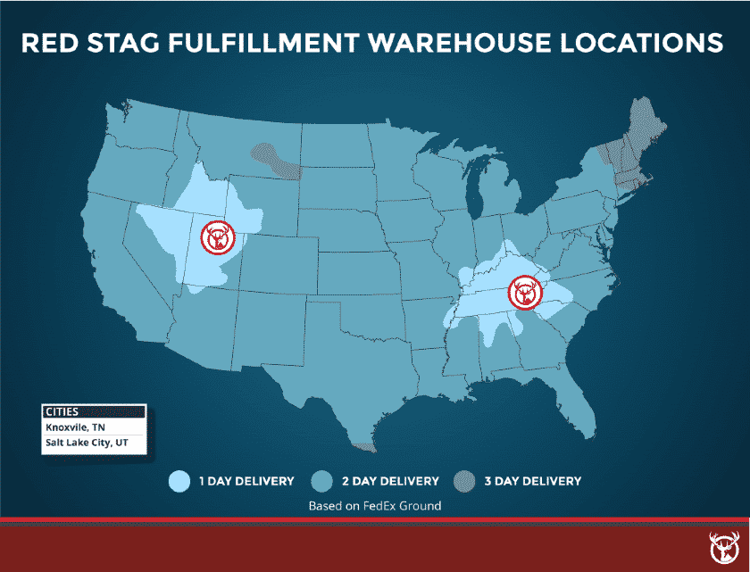 A map of Red Stag's warehouse locations and delivery speeds. Source: Red Stag