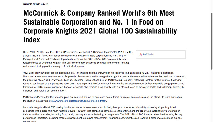 McCormick and Company Accomplishments Press Release