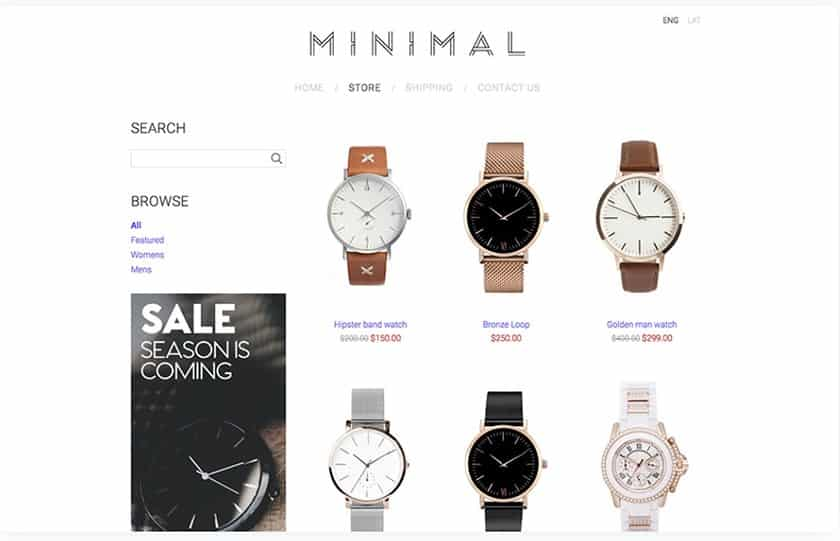 Screenshot of Mozello sample website