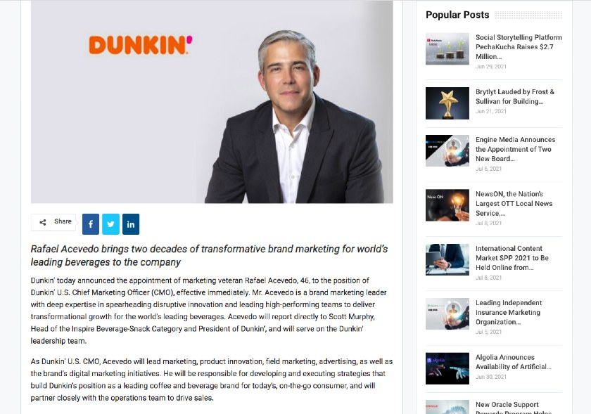 New Hire Press Release Background sample from Dunkin