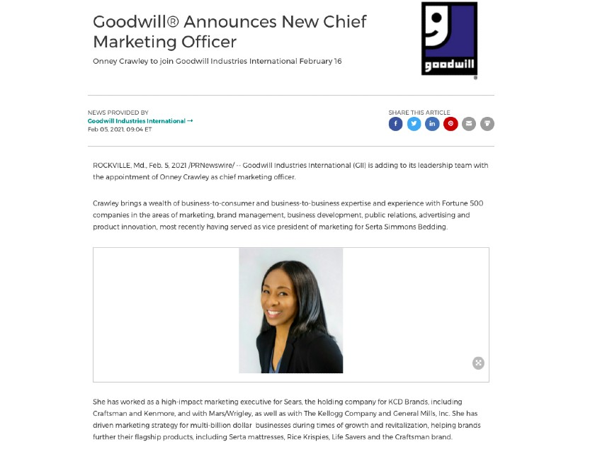 New Hire Press Release Background sample from Goodwill