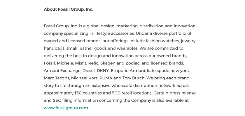 New Hire Press Release Boilerplate sample from Fossil group