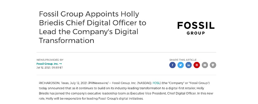 New Hire Press Release Headline sample from Fossil group