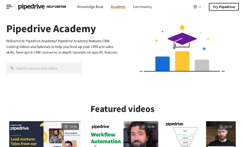 Pipedrive Academy Training Home Page