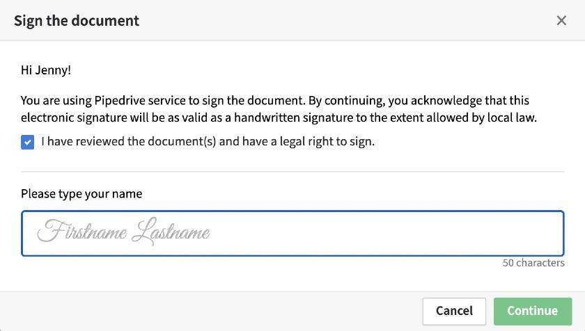 Pipedrive Document eSignature Tool