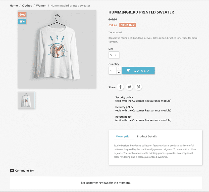 Screenshot of PrestaShop product page sample