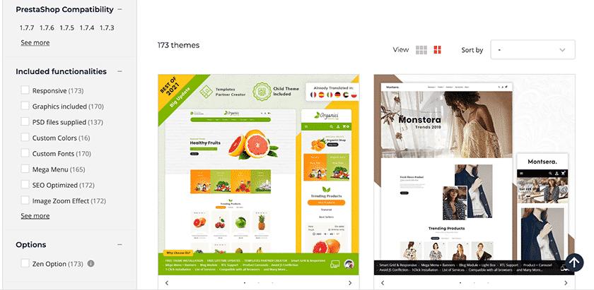 Screenshot of PrestaShop website templates