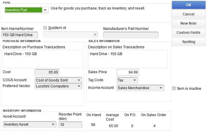 Screenshot of QuickBooks Retail Edition Inventory Item