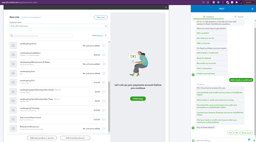 QuickBooks Virtual Teminal for payments account