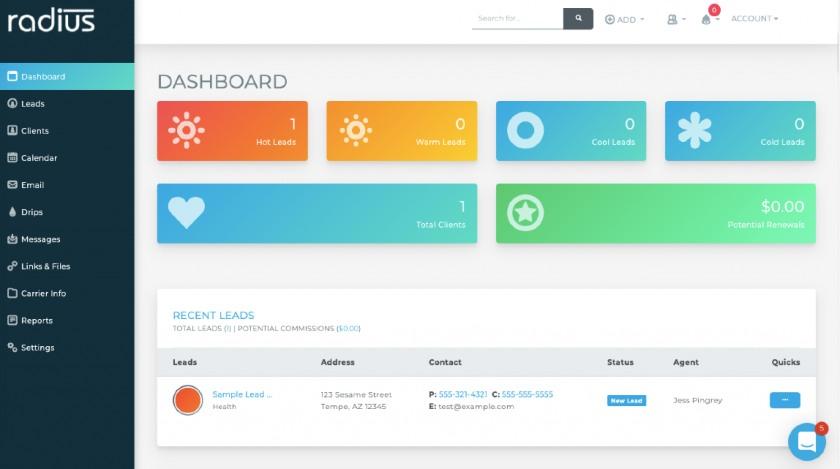 Radiusbob CRM dashboard
