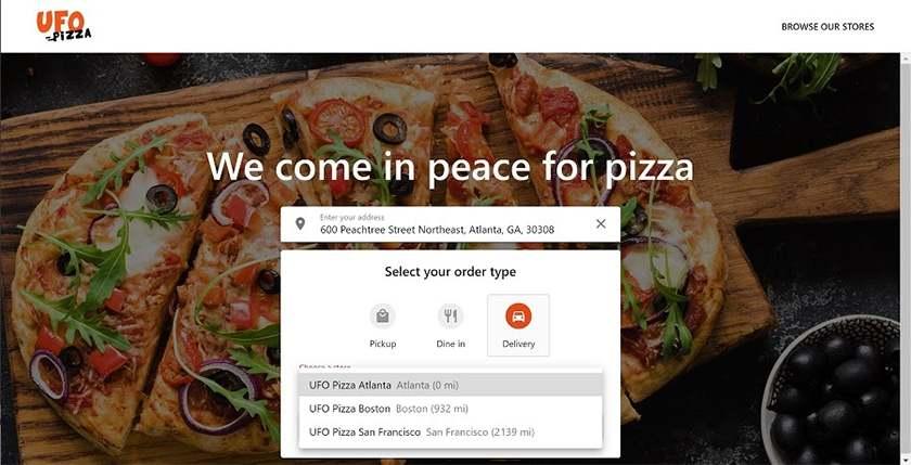Screenshot of Revel System's online ordering site sample