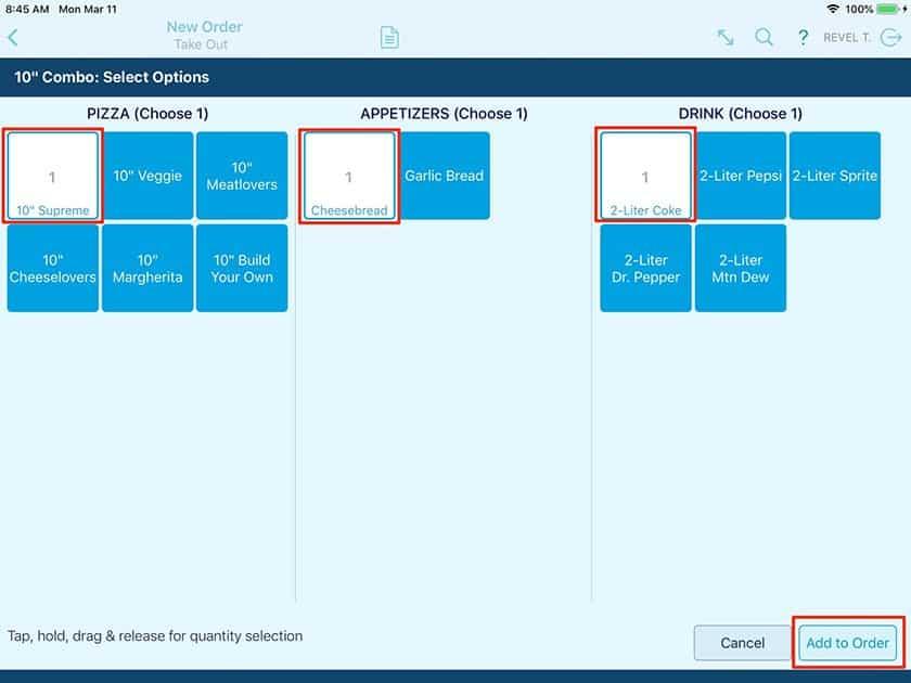 Screenshot Revel Systems screen configurations