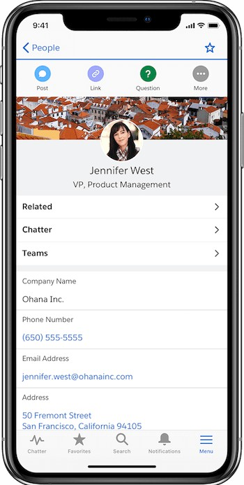 Salesforce Contact page Mobile App interface