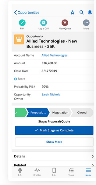 Salesforce Essentials Opportunity View in Mobile App