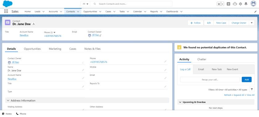 Salesforce contact management