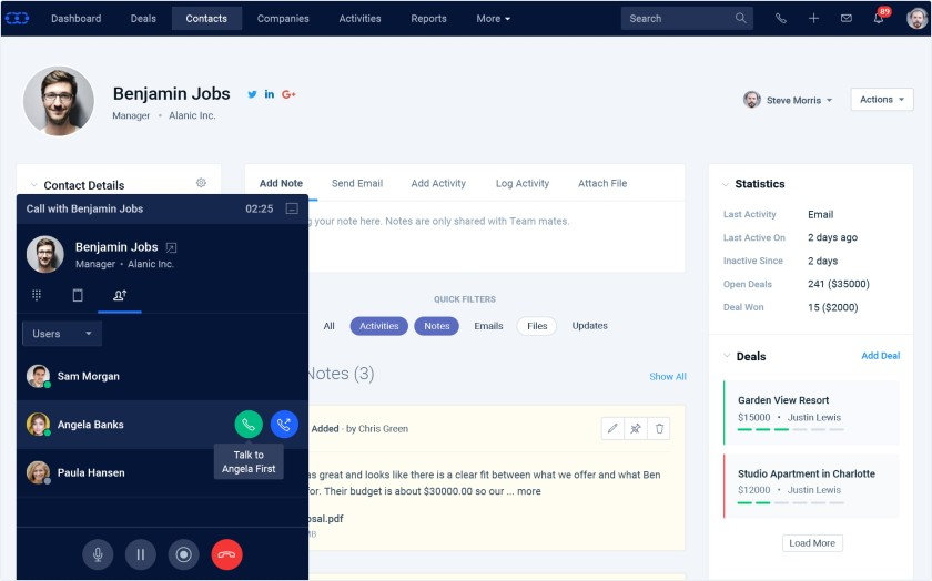 Salesmate CRM Phone Calling interface