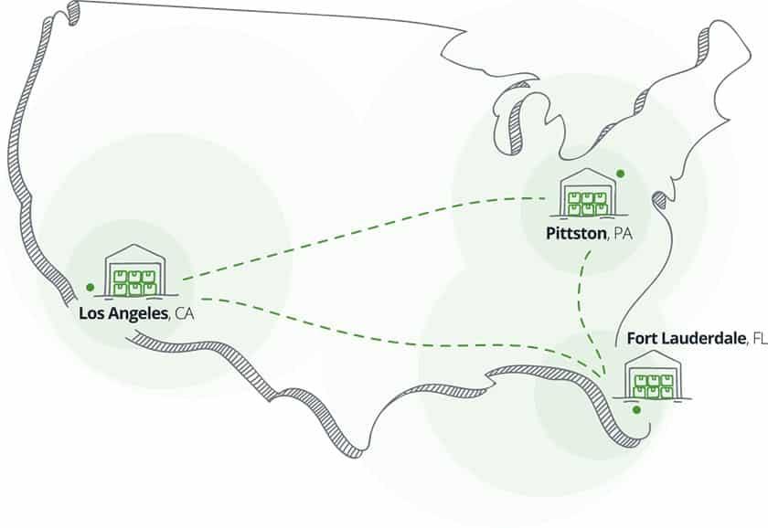 Screenshot of ShipMonk shipment map