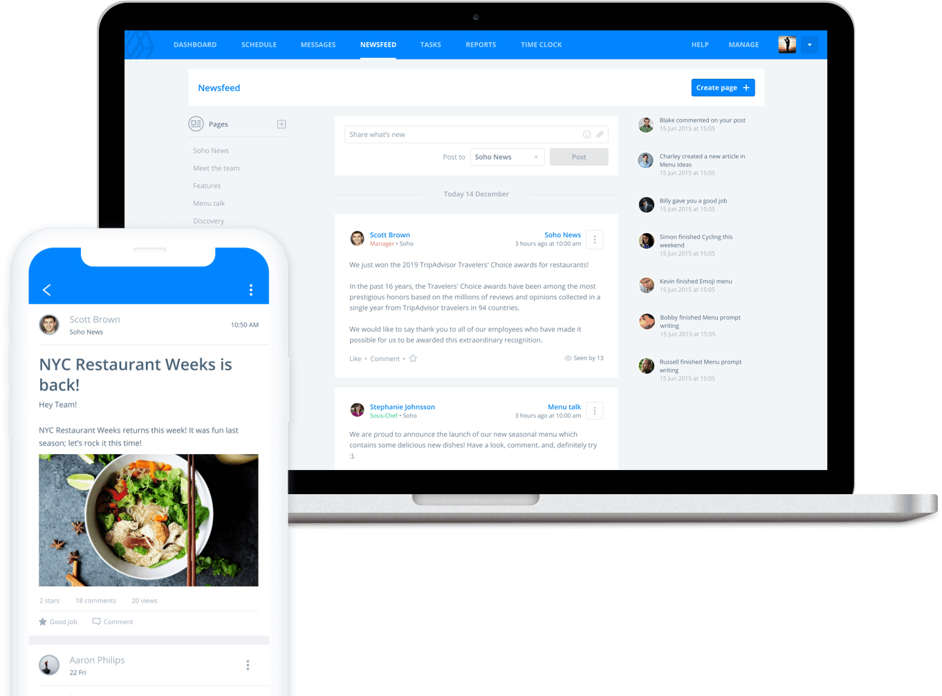 Screenshot of Sling contact employees app
