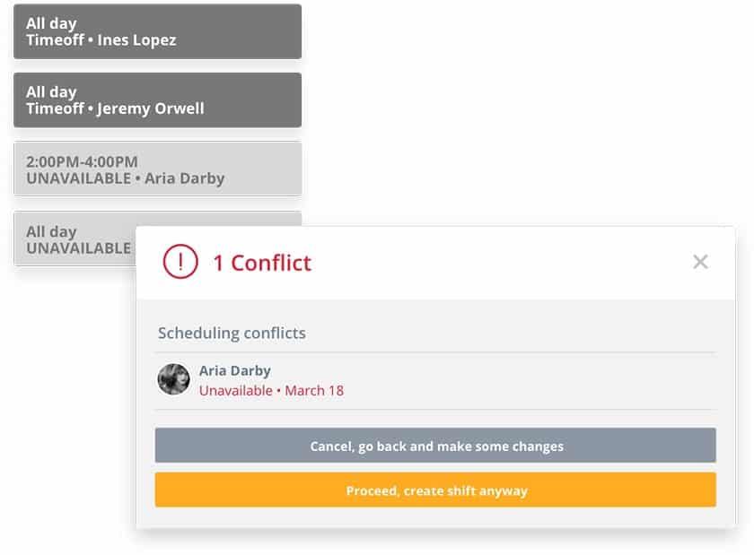 Screenshot of Sling scheduling software