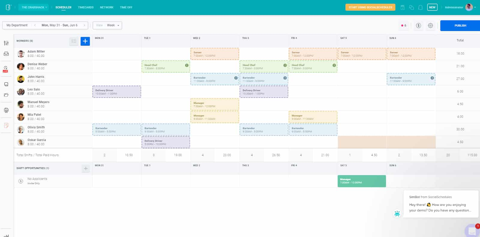 Screenshot of SocialSchedules scheduling dashboard