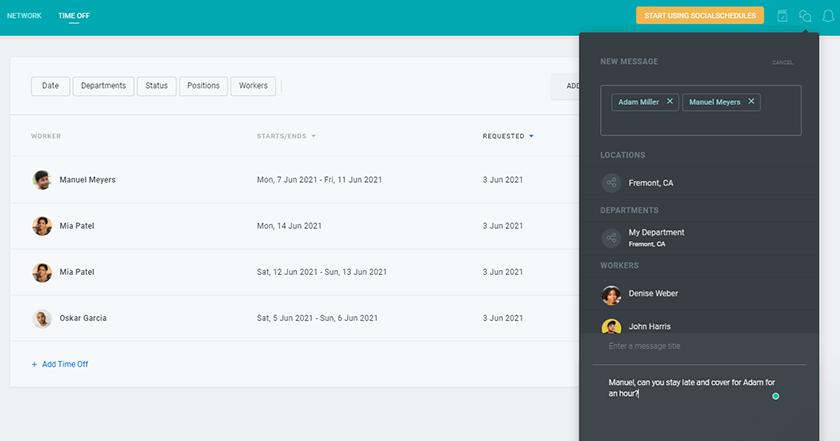 Screenshot of SocialSchedules messages feature