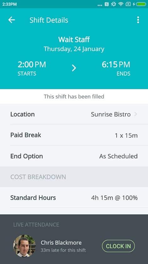 Screenshot of SocialSchedules shift details preview