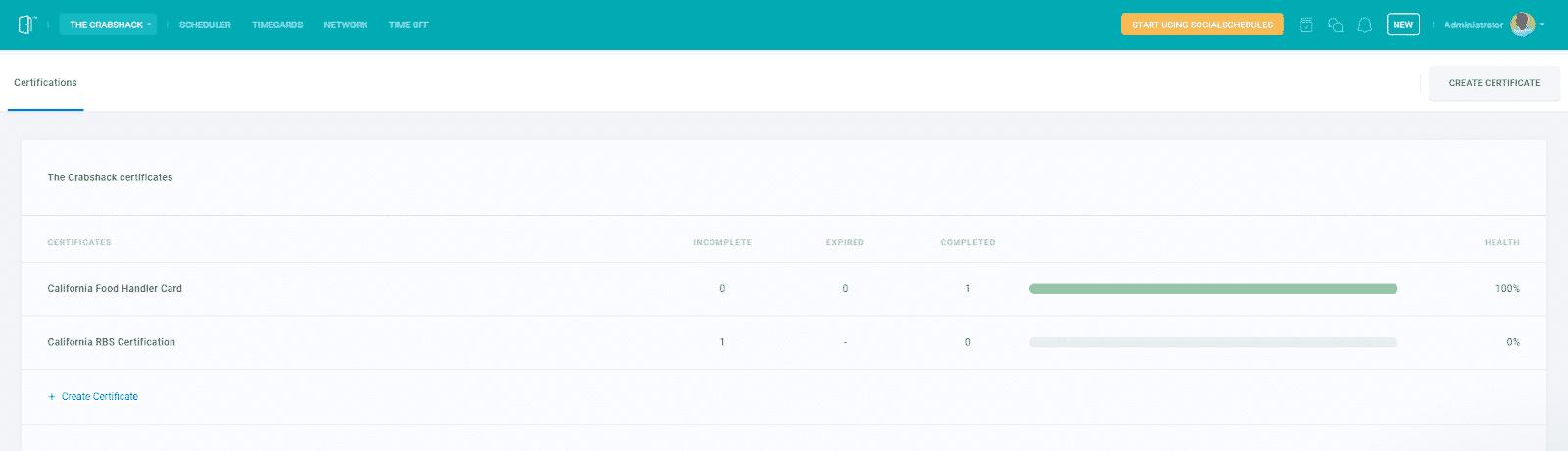 Screenshot of SocialSchedules_track employee certifications