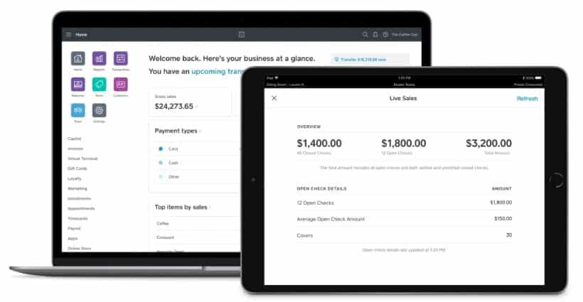 Screenshot of Square for Restaurants reports dashboard