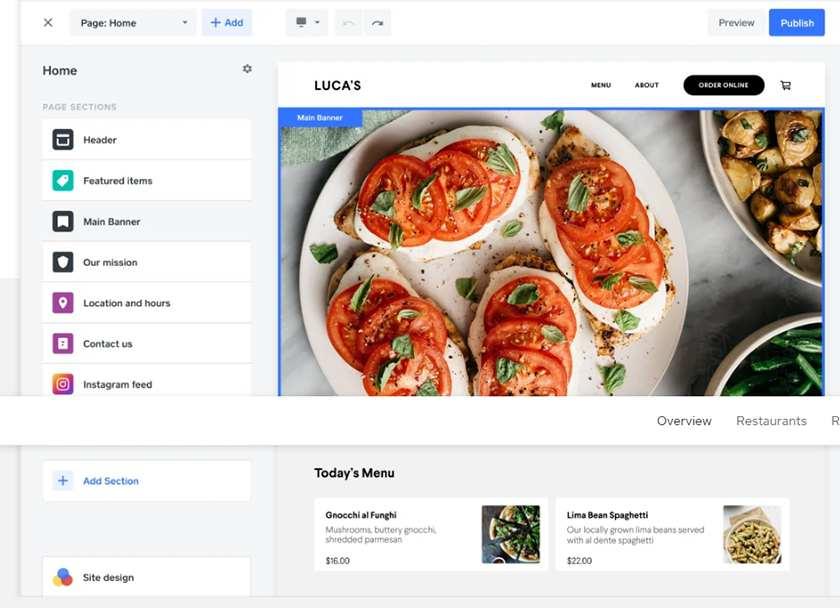 Screenshot of Square for Restaurants website builder
