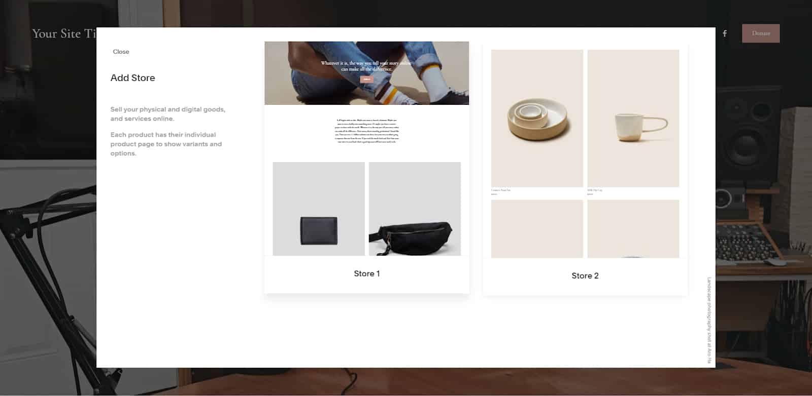 Screenshot of Squarespace add store