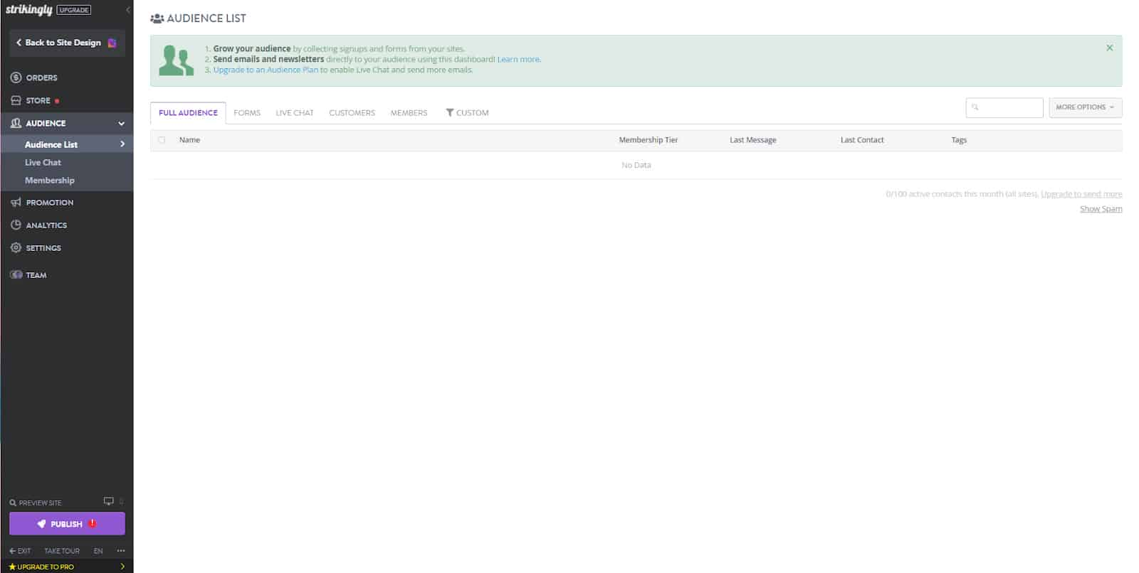Screenshot of Strikingly SEO audience list dashboard