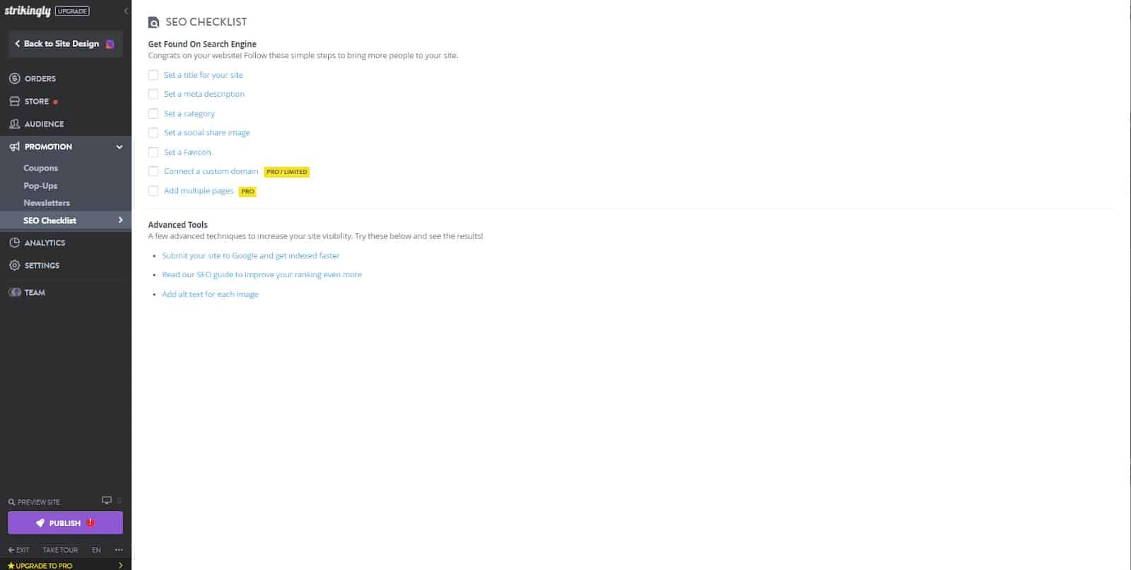 Screenshot of Strikingly SEO checklist dashboard