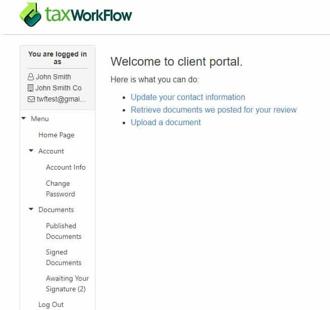 Screenshot of TaxWorkFlow Client Portal Example
