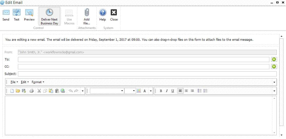 Screenshot of TaxWorkFlow Email Management