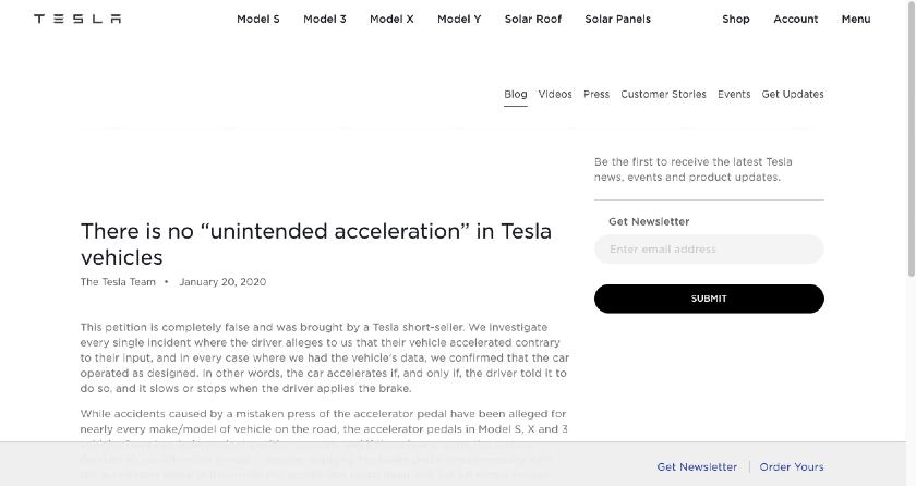 Tesla crisis communications press release